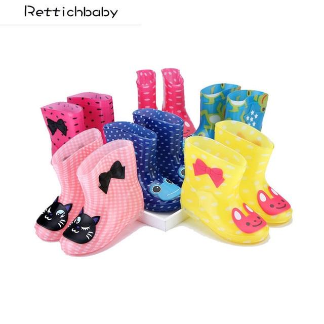 Детская Весна-осень-зима Обувь для мальчиков Обувь для девочек детские носорог Карамельный цвет с лягушка кошка кролик дождь Сапоги и ботинки для девочек Водонепроницаемый обуви