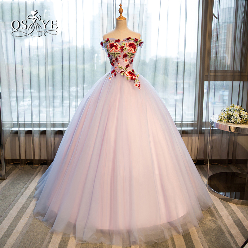 Vestidos Vintage Ball Gown Long   Prom     Dresses   2018 Real Photo Sweetheart 3D Floral Lace Flower Tulle Formal Evening Party Gown