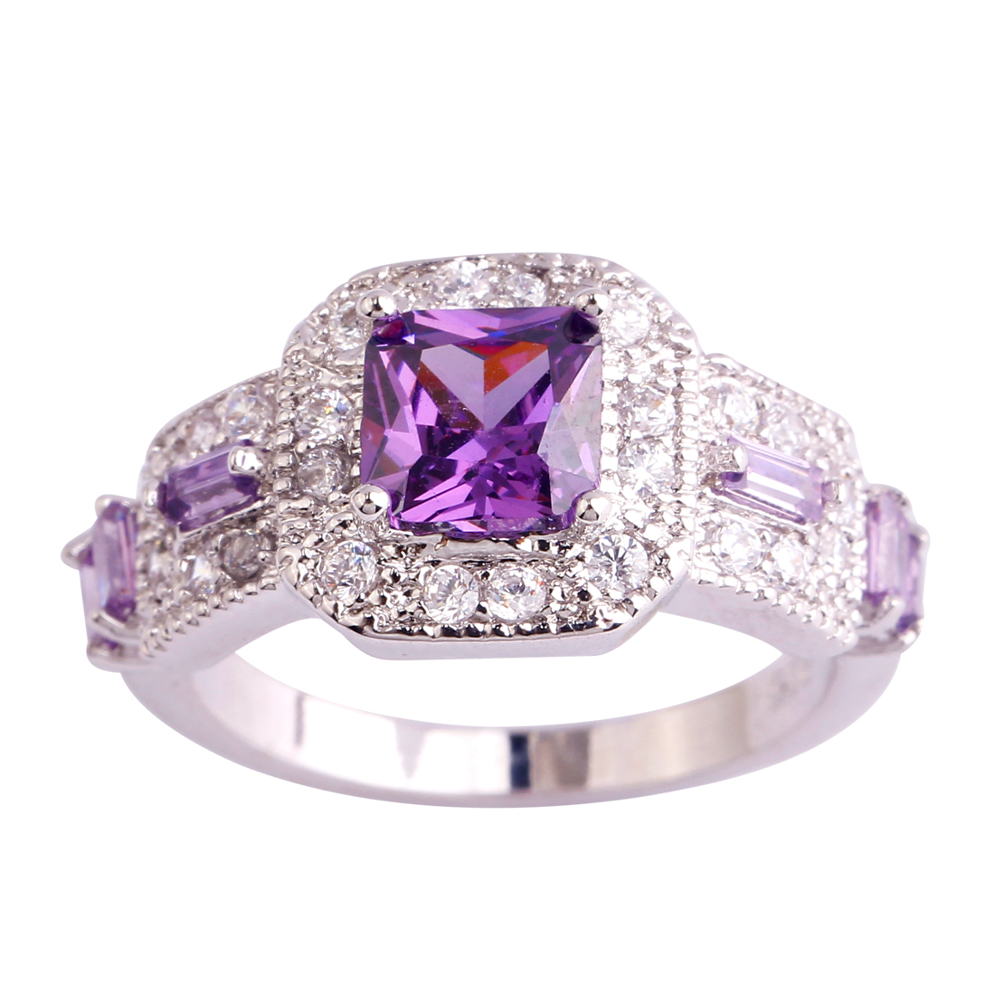 Lingmei Wholesale Plated Silver Ring Size 6 7 8 9 10 11 Purple ring CZ Handmade Crystal Jewelry Men Women