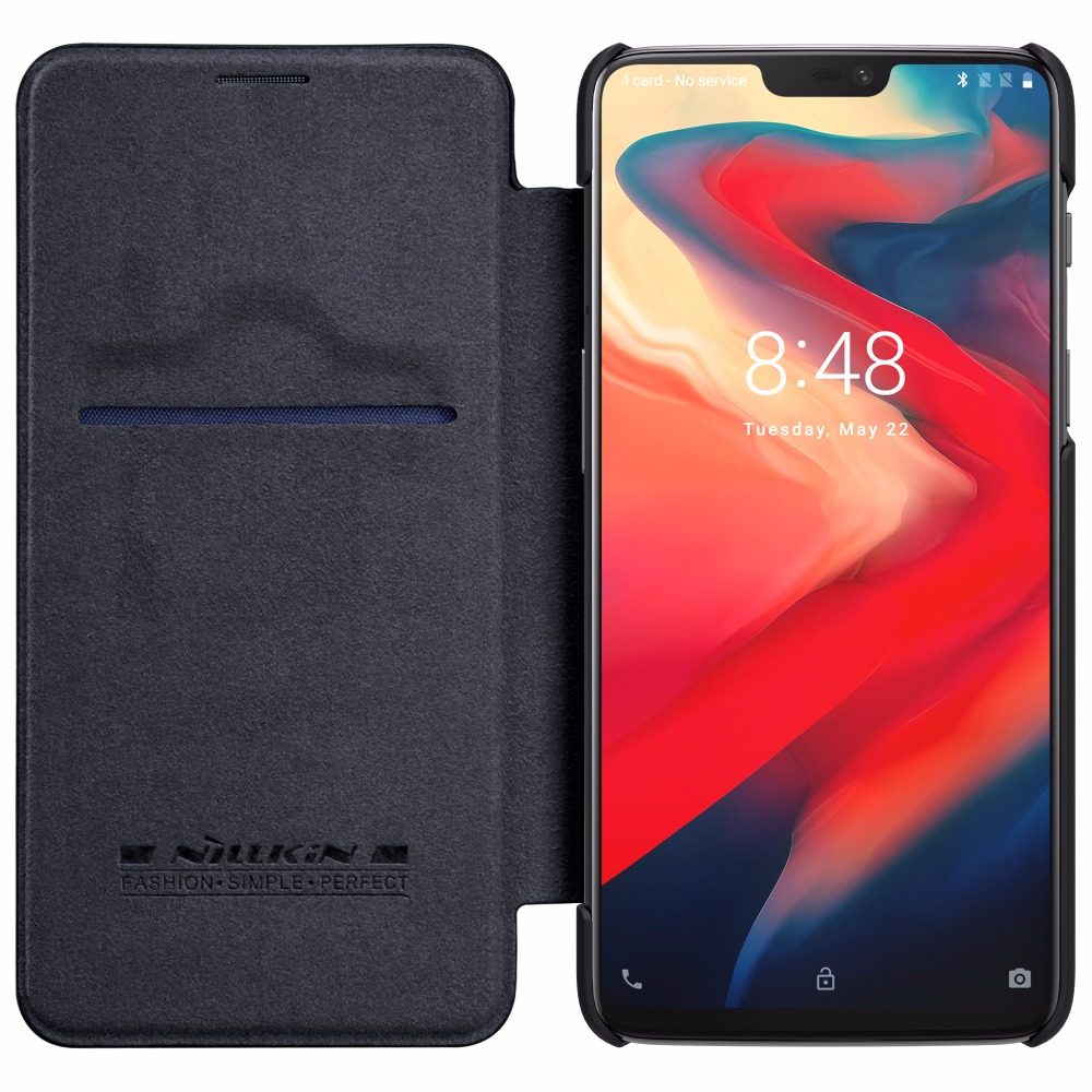 Oneplus 5 case oneplus 6 cover Nillkin QIN Series Filp Leather wallet Case Cover For One plus 6 1+6 with sleep function