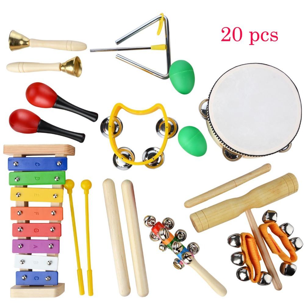20 PCS Children Musical Instruments Set Rhythm & Music Education Toys Band Set Toddler Wooden Percussion Toy for Kids With Case