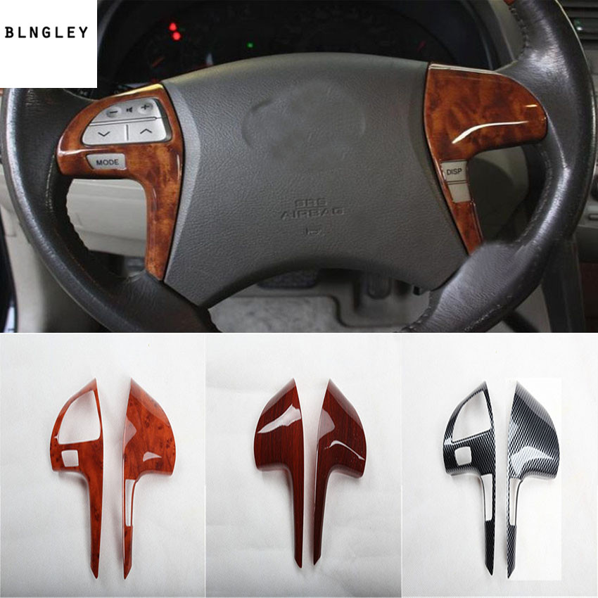 2pcs/lot ABS carbon fiber grain or wooden grain steering wheel decoration cover for 2006-2011 Toyota camry MK6 kadore toyota 2011 5dr abs