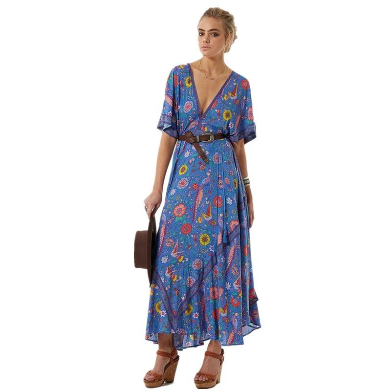 Boho Kleid Sexy V-ausschnitt Quaste Kurzarm Frauen Kleider 2018 Blau Vogel Blumendruck Sommerkleid Böhmen Lange Kleider