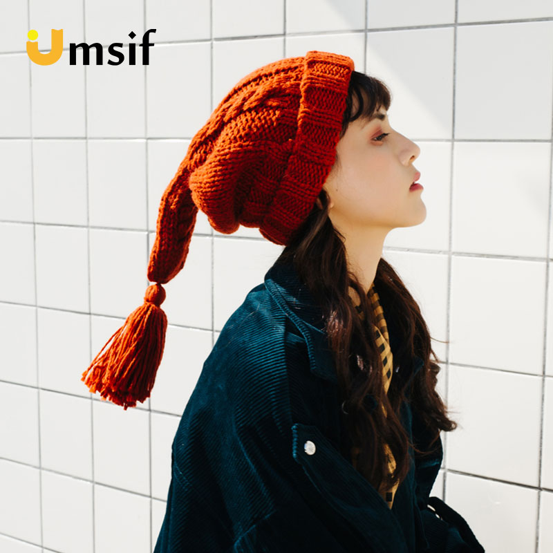Women's Cute Tassels Handmade Knitted   Beanies   Hat 2018 New Winter Solid Color Hats For Women   Skullies   &   Beanies   Female Warm Caps