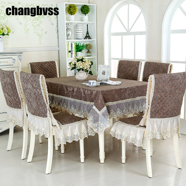 Purchase Price Quality Lace Tablecloth Chair Mat Set Chocolate Color  Delicate Wedding Tablecloth 9 Pcs/Set Table Cover Manteles