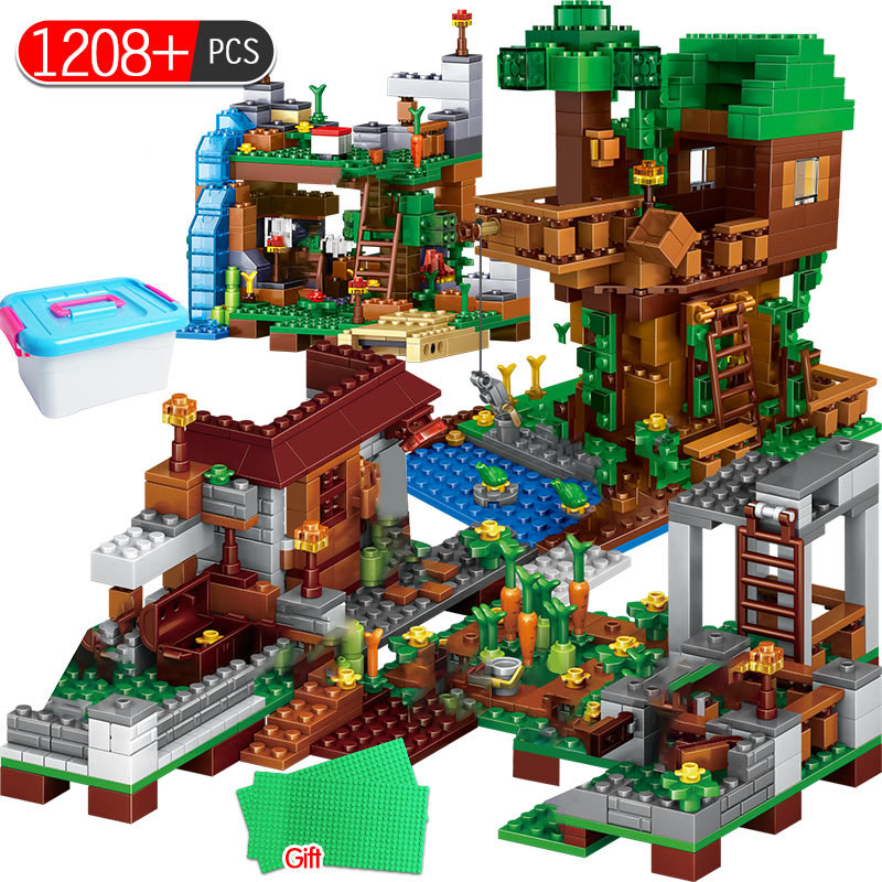 1208pcs My World Building Blocks Legoingly Village Warhorse City Tree House Waterfall Educational Toys For Children