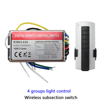 High voltage 110V 220V 3 4 5 6 channel remote switch controller 1000W/CH LED wireless digital subsection remote control