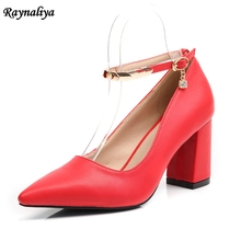 Size 34-43 2018 Pointed Toe High Heels Ankle Strap Pumps 5CM/7CM Square Heels Sexy Wedding Summer Leather Shoes XZL-A0054 недорого