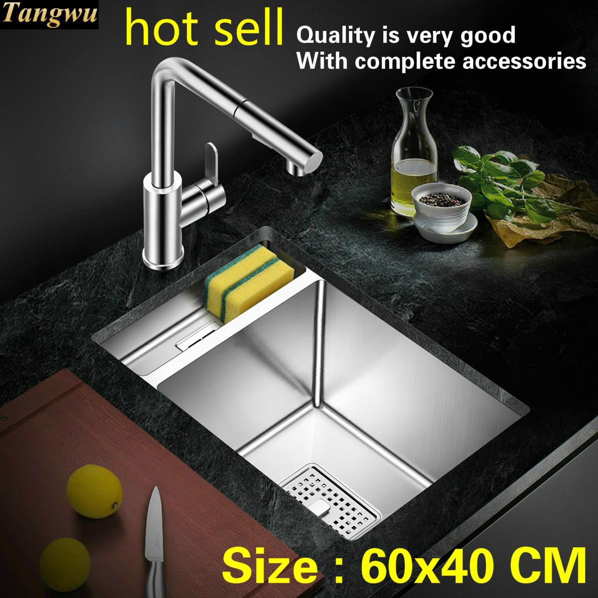 Free shipping Household individuality kitchen manual sink single trough 304 food-grade stainless steel hot sell 60x40 CMFree shipping Household individuality kitchen manual sink single trough 304 food-grade stainless steel hot sell 60x40 CM