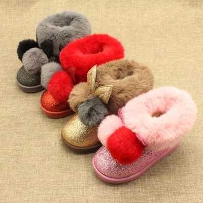 2018 зимняя блестящая теплая обувь для девочек, модные детские ботильоны, брендовые зимние ботинки для малышей, обувь принцессы с блестками и кроликом