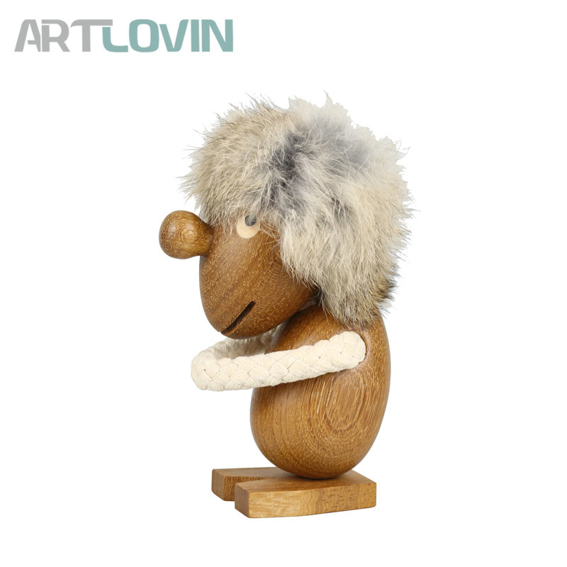 New Arrival Nordic Denmark Fashion Solid Teak Wood Optimistic Fuzzy Man Ornament Decoration Figurines Wooden Pessimistic