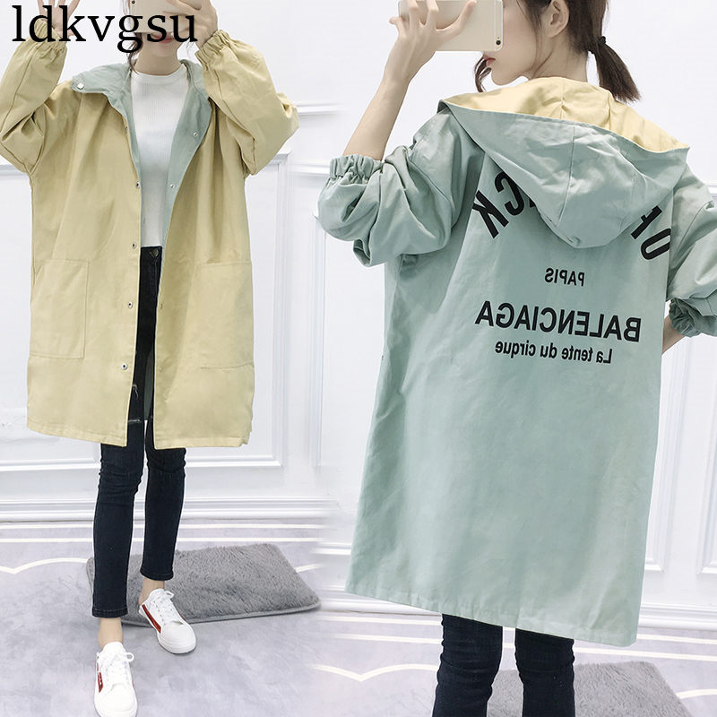 2019 Fashion Women   Trench   Coat Plus Size Hoodie Windbreaker Solid Pockets Button Lightweight Coat Girls Overcoat Two wear A1413