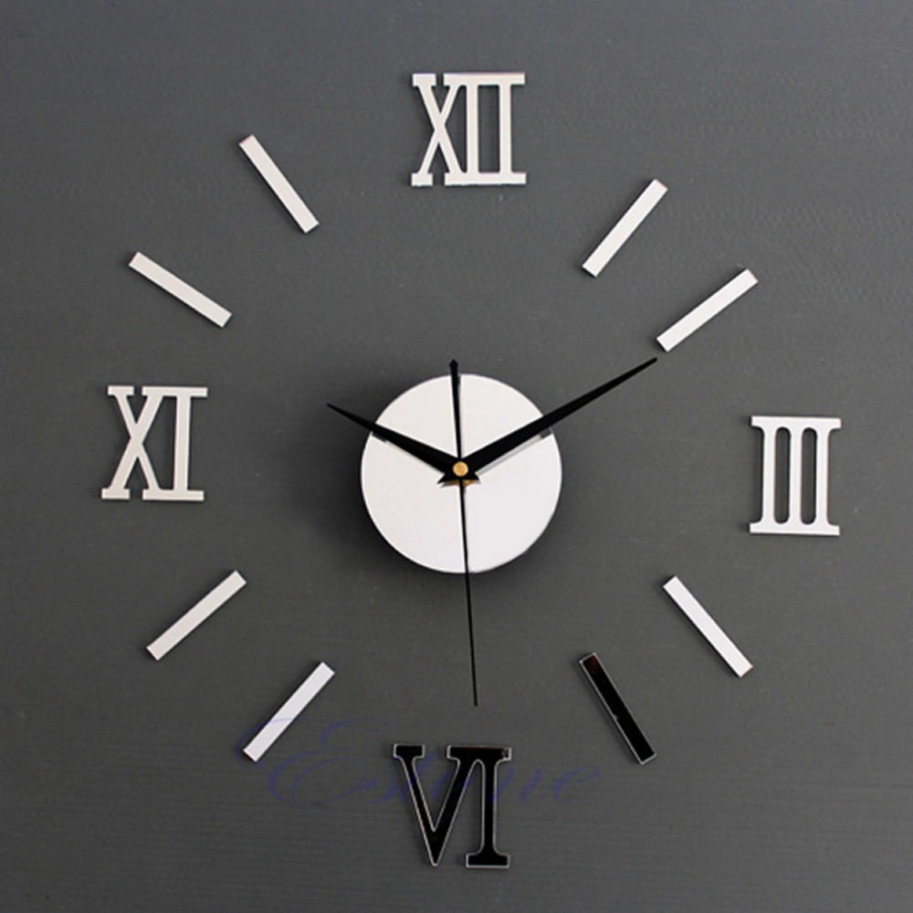 Modern DIY 3D Wall Clock Mirror Roman Wall Sticker Stickers Home Decor Home Mirror Adesivo De Parede Effectest