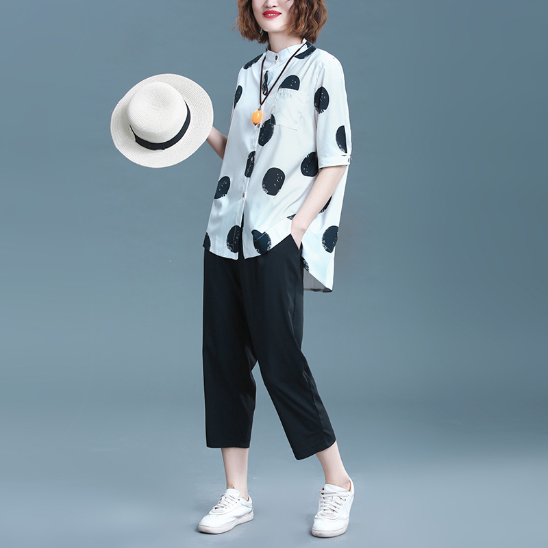 2019 Summer Cotton Linen Two Piece Sets Outfits Women Plus Size Dot Print Shirts And Pants Suits Casual Vintage 2 Piece Sets 28