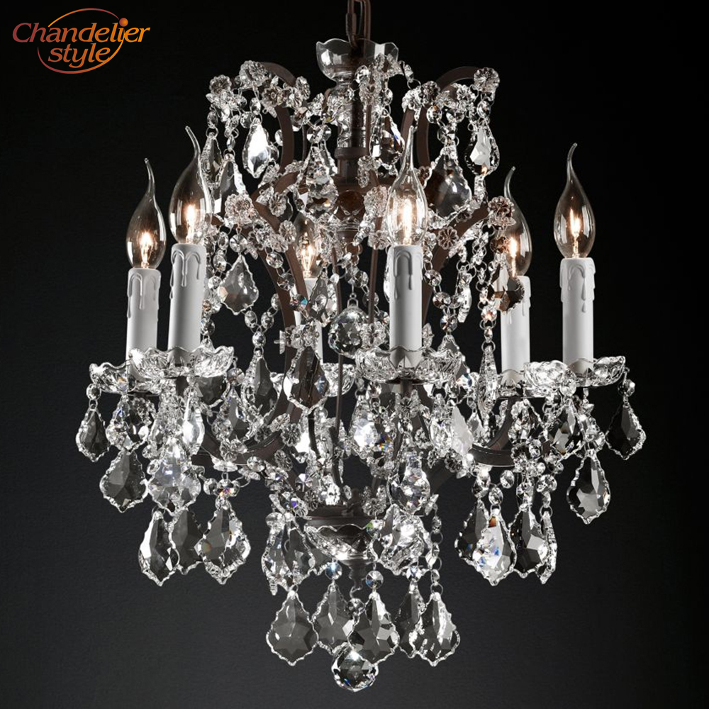 Image 3 - 19th C. Rococo Iron & Crystal Round Chandelier Lighting Modern LED Chandeliers Pendant Lamp Hanging Light for Living Dining Room-in Chandeliers from Lights & Lighting