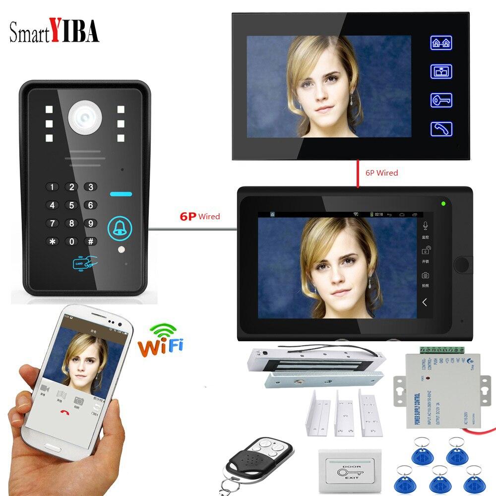 SmartYIBA APP Control RFID Password 2x7 Inch Monitor Wifi Wireless Video Door Phone Doorbell Intercom KIT+Power Supply Door Lock
