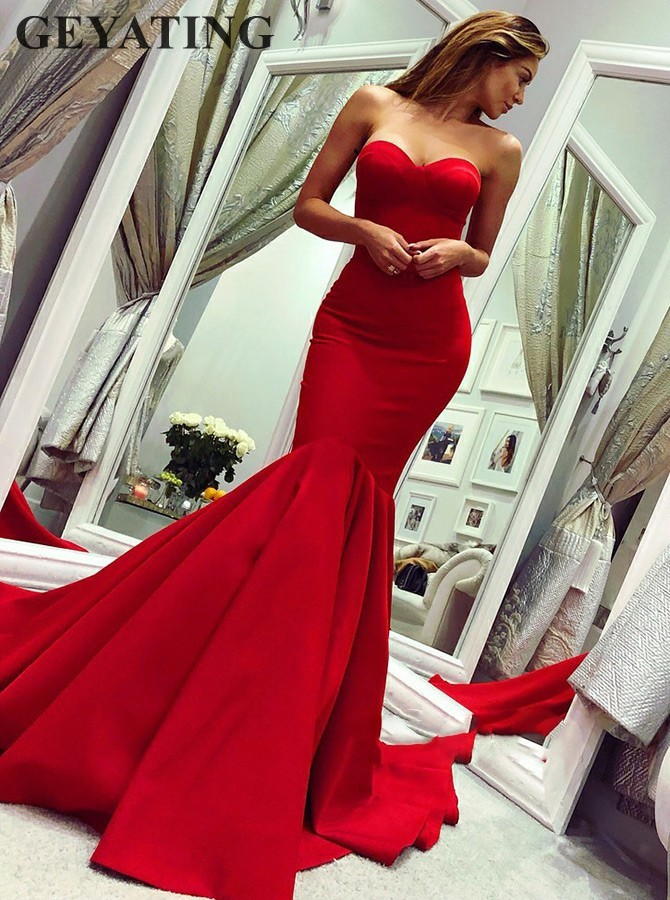 Elegant Red Long Satin Mermaid Evening Gowns Simple Sweetheart Sweep Train Women Special Occasion Dress Formal Prom Dresses 2019(China)