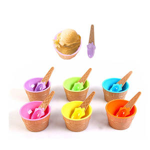 Ice-Cream-Bowls Dessert A-Spoon Love with Is Wonderful Gift for Children Who of Six-Colors/Set