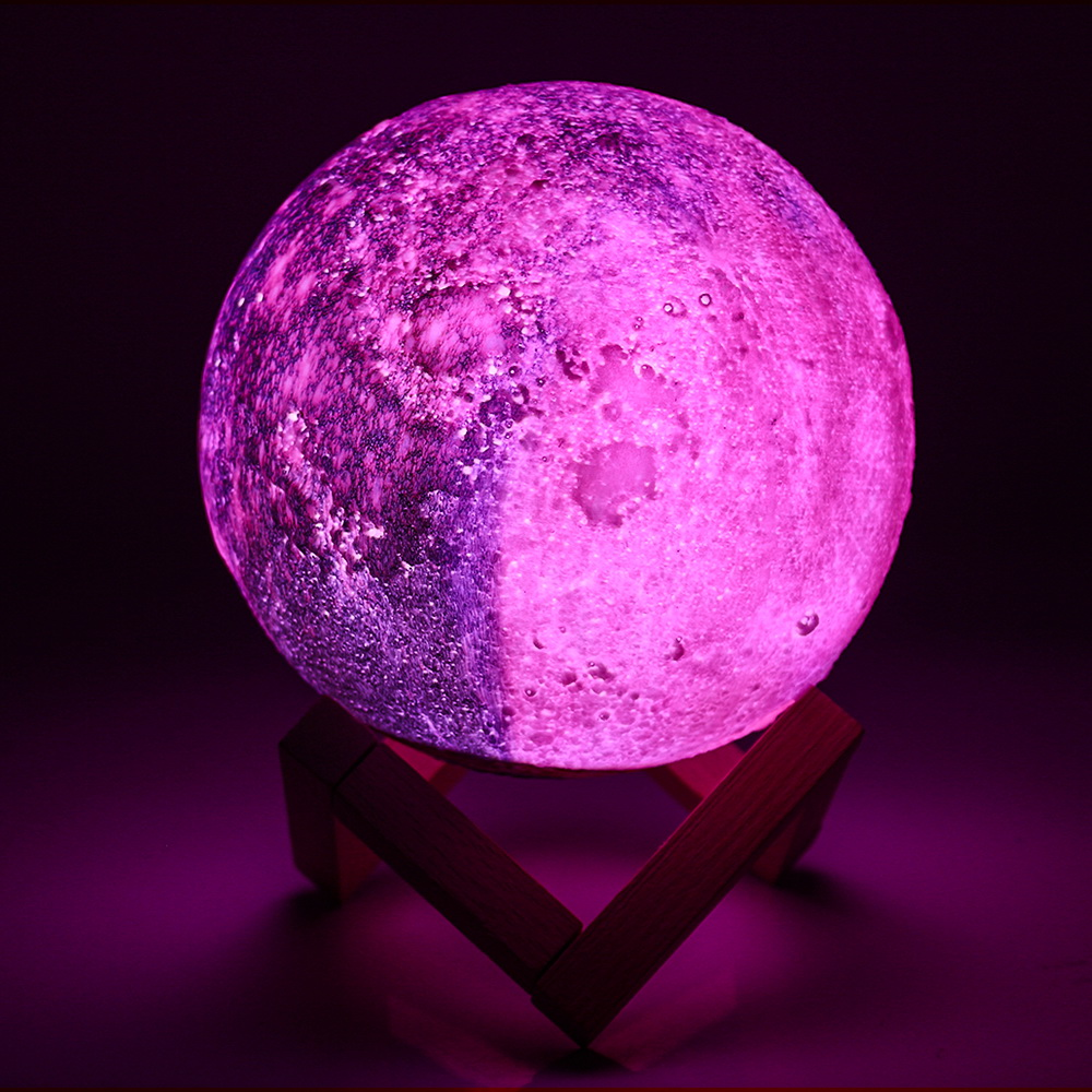 Ночной светильник с 3D печатью, лунная лампа с зарядкой от usb, Ночной светильник с сенсорным управлением, яркий цветной тон 15 см, светодиодный