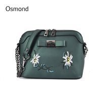 Osmond New Arrival National PU Leather Women Messenger Bags Bow Embroidery Chain Crossbody Shoulder Bags Female