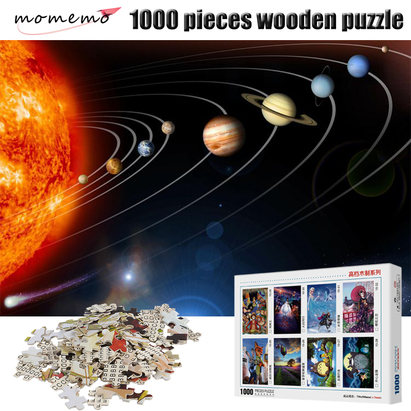 MOMEMO Solar System Puzzles 1000 Piece Wooden Puzzle Jigsaw Adult Puzzle Game Wooden 1000 Pieces Puzzle
