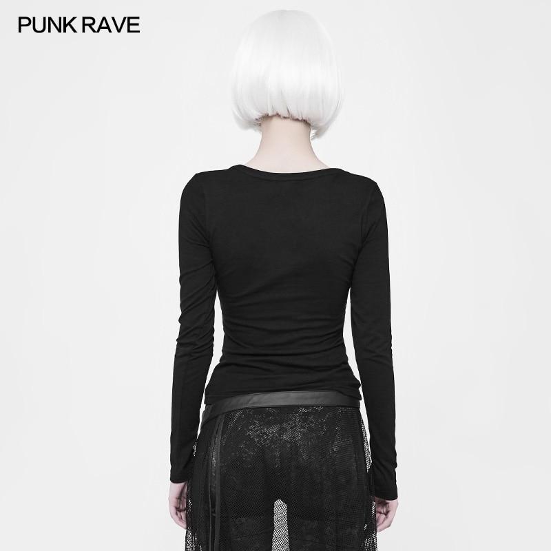 2018 Punk Rave Rock Allacciatura Nero Gotico di Modo di Cotone A Maniche Lunghe Donna T Shirt Magliette e camicette Cosplay WT523-in Magliette da Abbigliamento da donna su  Gruppo 3