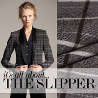 Silver Plaid worsted fabric wholesale high quality flip wool fabrics