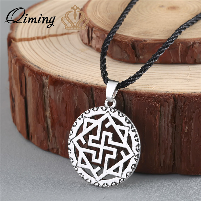 QIMING Valkyrie Silver Slavic Pendant Viking Odin Thor Runes Warrior Nord Scandinav Talismans Viking Necklace Men Jewelry