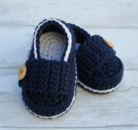 Free Shipping,Crochet Shoes Sandals / Toddler Shoes / Crochet Baby Boy Button Loafers 100% Cotton 0-18month