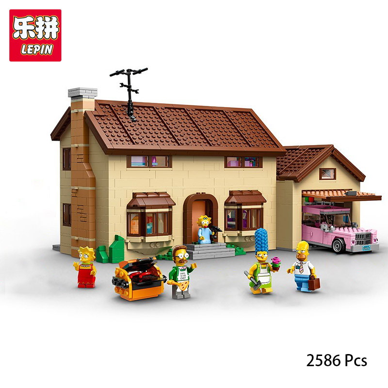 Lepin 16005 Simpson's family House Building Blocks Bricks Educational Toys Compatible With lego 71006 Funny Toys Gifts 2586 Pcs shirly new rest stop dream house building blocks compatible with lego bricks girl s educational toys birthday christmas gifts