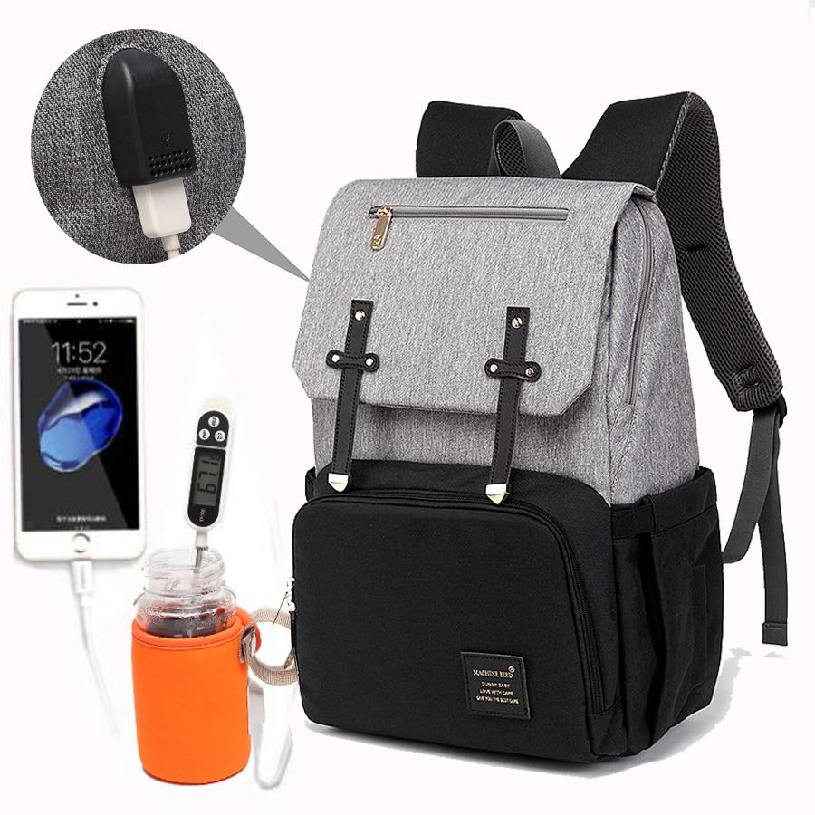 PYETA Baby Diaper Bag with USB Port Waterproof Nappy Bag Mommy Backpack Laptop Bag Maternity Bag