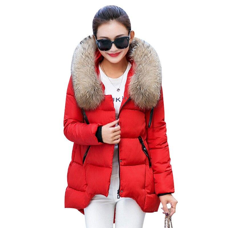ФОТО Womens Winter Jacket 2016 New Korean Large Fur Collar Hooded Winter Coat Women Thick Warm Loose Parka Female Winter Jackets W029