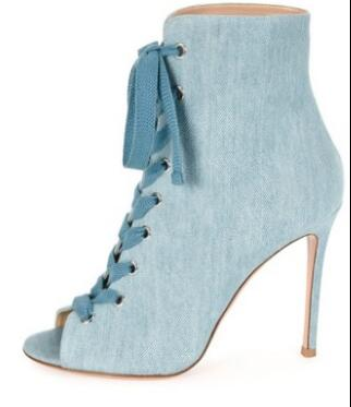 Hot Sale 2018 Fashion Blue Denim Lace-up Woman Ankle Boots Peep Toe Woman Gladiator Sandals Boots Thin High Heels Dress Shoes desinger shoes studded high heels lace up blue jeans denim boots for women girls cowboy ankle boots demine pumps shoes woman