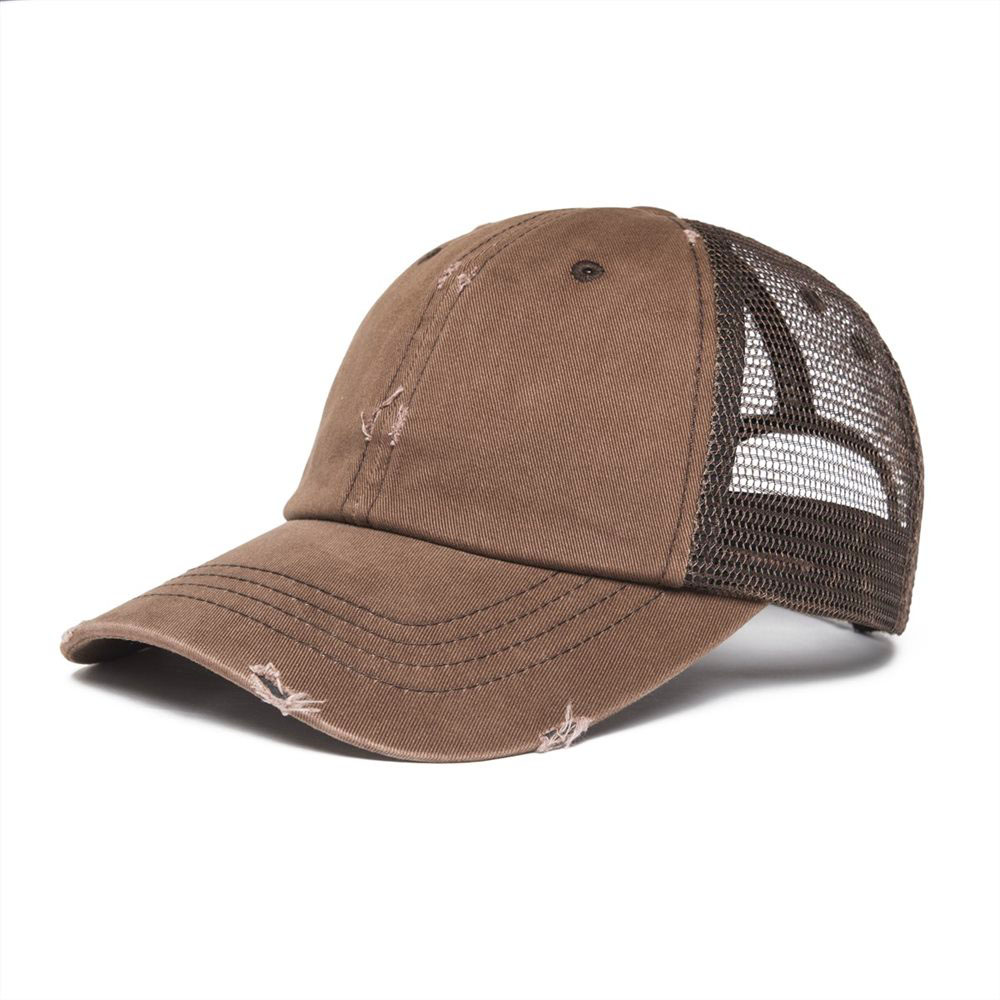 VOBOOM Frayed   Baseball     Cap   Men Women Distressed Coffee Brown Washed Cotton Adjustable Mesh Trucker Net Hat 020