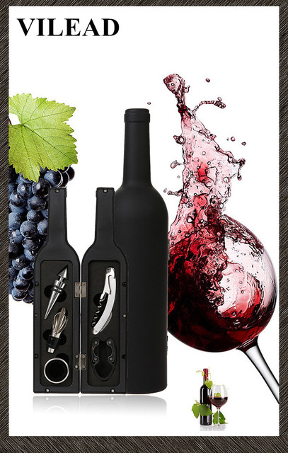 VILEAD 5PCS Hot Corkscrew & Accessory Set Wine Bottle Set Bottle Opener Stopper Drip Ring Foil Cutter Wine Pourer Wine Tool Set