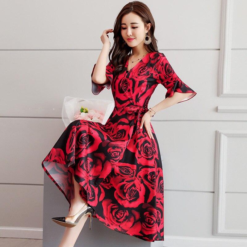 New Plus Size Women Dresses Red Gothic Valentine's Day Rose Print Black Spring Fashion Clothes Elegant Black Dress