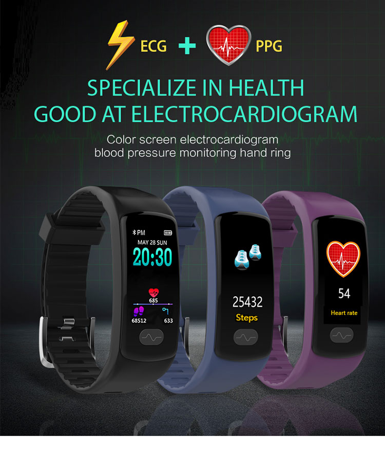 E07 high blood pressure band heart rate monitor PPG+ECG smart bracelet fitness tracker Watch intelligent GPS Trajectory pk H66