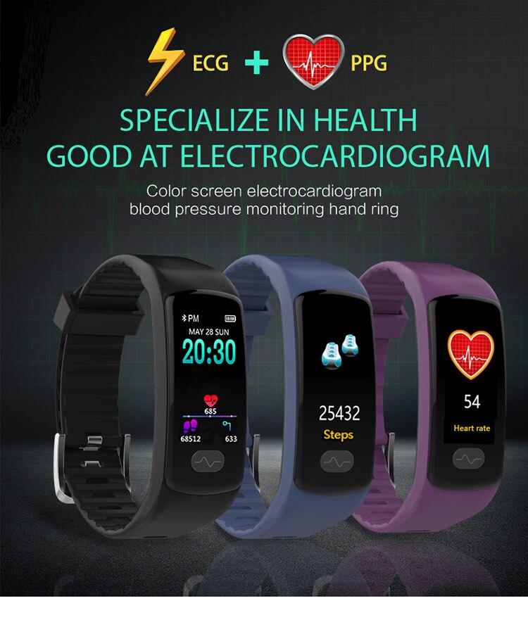 E07 presión arterial alta banda monitor de ritmo cardíaco PPG + ECG pulsera inteligente fitness tracker reloj inteligente GPS trayectoria pk H66