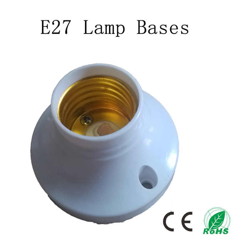 5pcs/lot E27 Lamp Bases, Circular E27 Socket, Colour and Iustre is White Plastic Lamp Holder, No Greater Than AC250V 60W