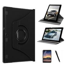 Para lenovo tab 2 a10-70f 10.1 tablet caso giratorio 360 para Lenovo A10-70L Cuero Del Soporte de la Cubierta Protectora de la Tableta + + Pluma de la Película
