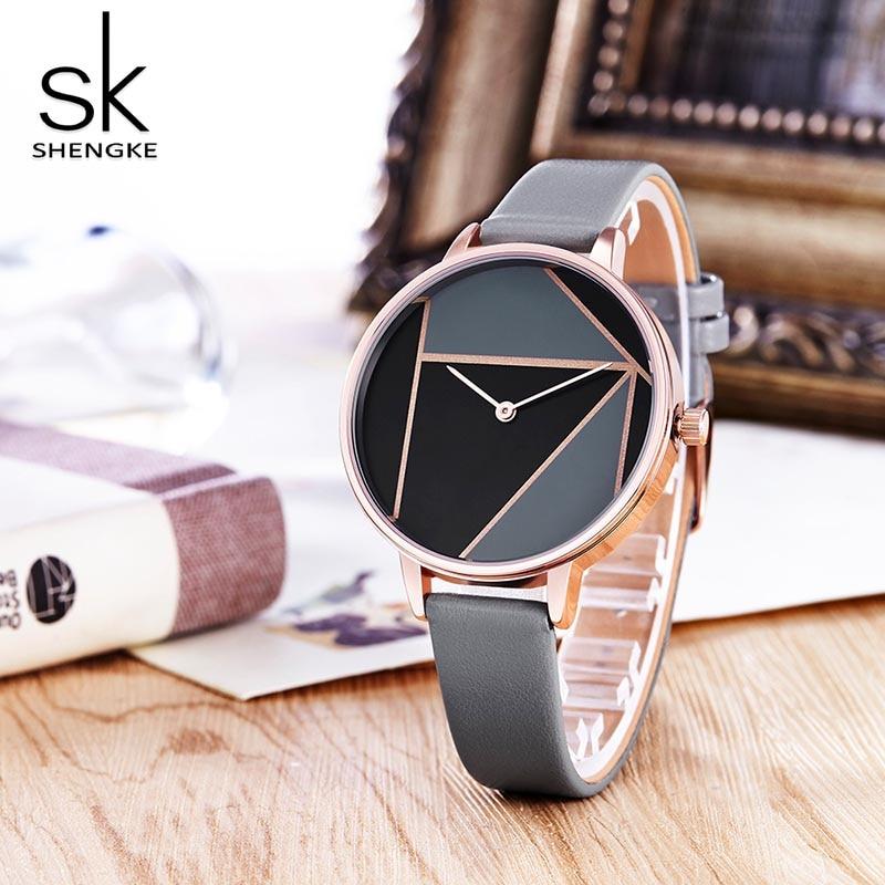 SK Leather Watchband Strap Women's Dress Business Watch Elegant Quartz Wristwatch Clock 3