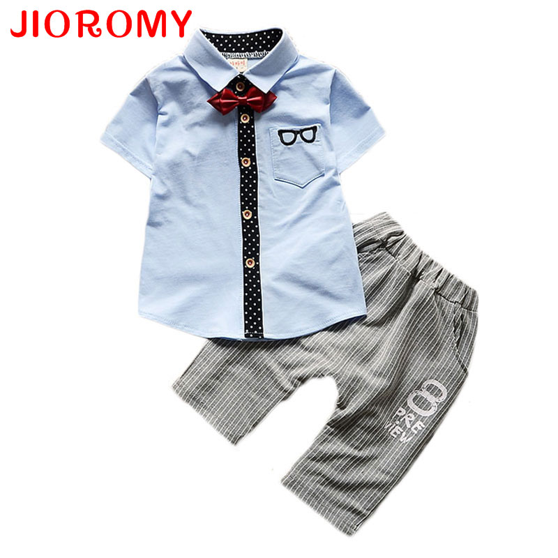2017 New Boys Baby Clothes Suit Short Sleeve T Shirt + Pants 2 Pieces Fashion Glasses Cardigan Shirt Striped Pants Gentleman Bow new 2018 spring fashion baby boy clothes gentleman suit short sleeve stitching plaid vest and tie t shirt pants clothing set