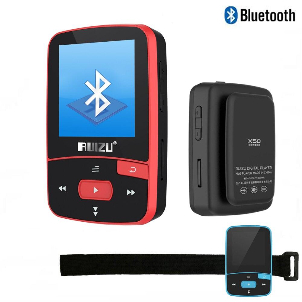 WohltäTig Original Ruizu X50 Sport Bluetooth Mp3 Player 8 Gb Clip Mini Mit Bildschirm Unterstützung Fm Radio Uhr Aufnahme Schrittzähler Ausgereifte Technologien E-buch