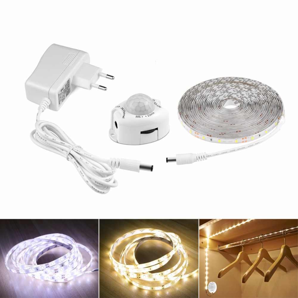 Aimengte DC12V 1 M/2 M/3M/4 M/5 M Sensor Gerak Di Bawah Kabinet lampu Tidur Lampu Malam dengan Otomatis Mematikan Timer LED Strip Pita