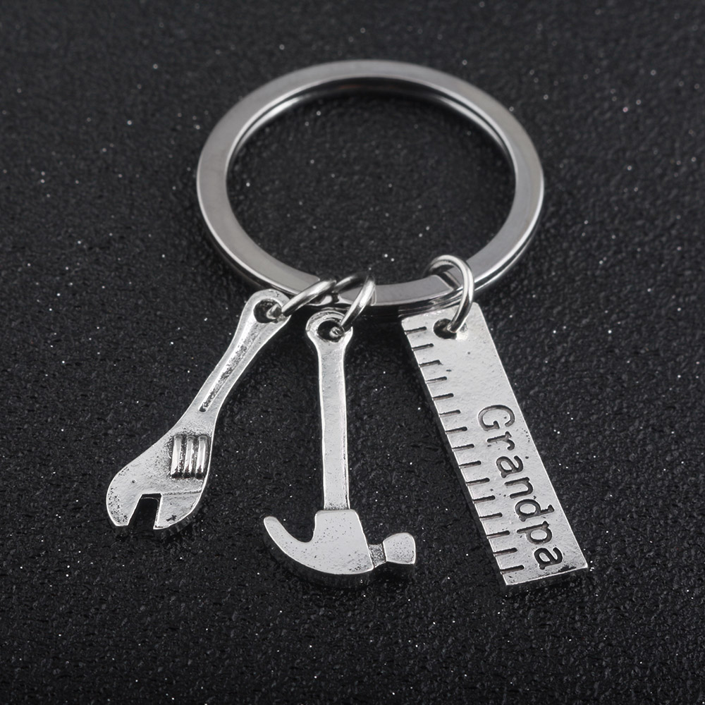 Hot sale Fashion Grandpa Work Tools Keychain Pendant Tool Ruler Wrench Hammer Men&Women Keyring Key Chains Fathers Day Gift