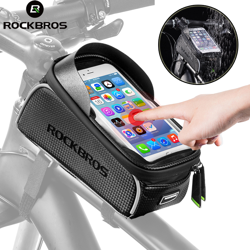 Rockbros Bike Bag Bicycle Saddle Bag Front Frame Tube Pouch 6.5 Inch Waterproof Bag Cycling Touch Screen Phone Holder Accessorie