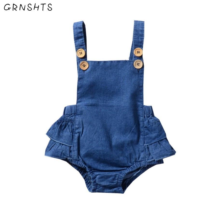 GRNSHTS Baby Clothing Newborn Baby Girl Sleeveless Demin Bodysuit Jumpsuit Baby Girl Tutu Dress Clothes Outfits Baby Set 0-24M
