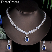 ThreeGraces Famous Brand Classic Water Drop Silver Color Cubic Zircon Royal Blue Bridal Costume Jewelry Sets For Women JS105