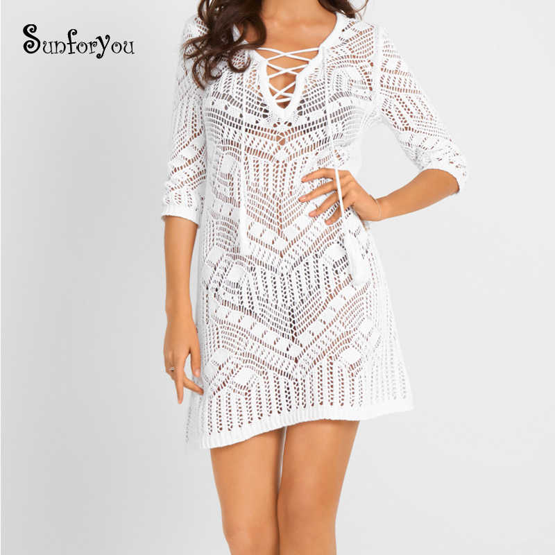 New Knit Beach Cover up Pareo Beach Wear Bathing suit Cover ups Beach Tunic Swimwear Cover up Women Beach Kaftan Cover ups