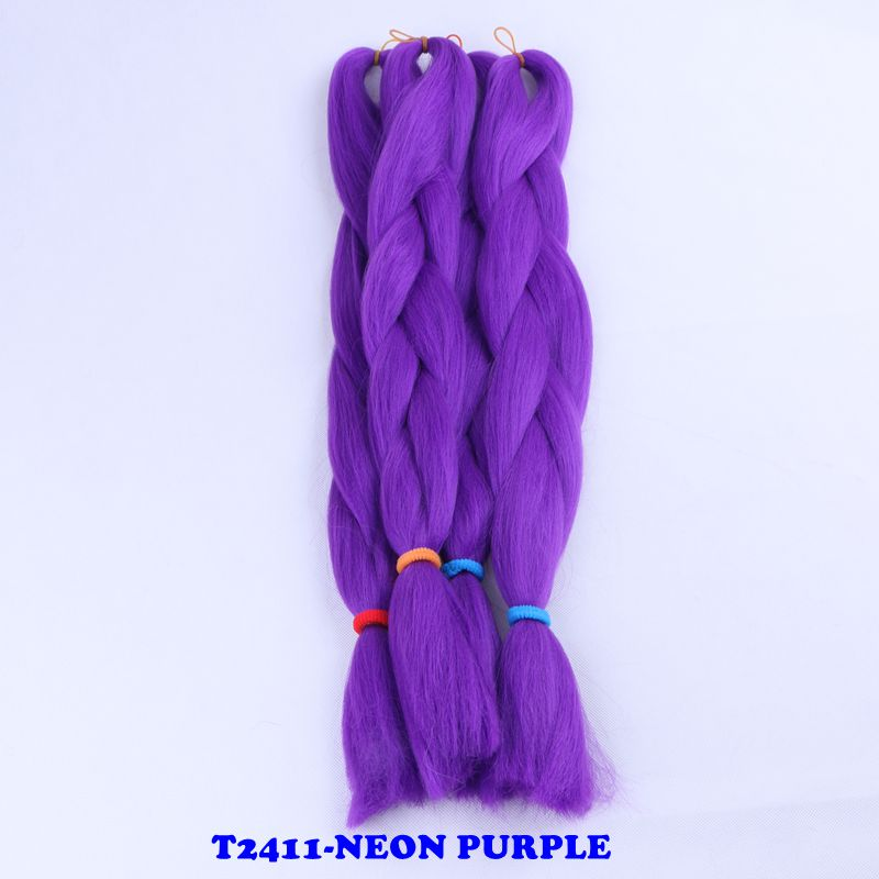 Jumbo Braids Luxury 1pack Navy Neon Olive Green Lavender Lilac Vintage Pink Kanekalon Synthetic Jumbo Braiding Hair 24 60cm 80grams Hair Extensions & Wigs